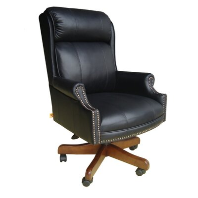 Parker House Furniture Home Office High-Back Leather Executive Chair with Nailhead Arms