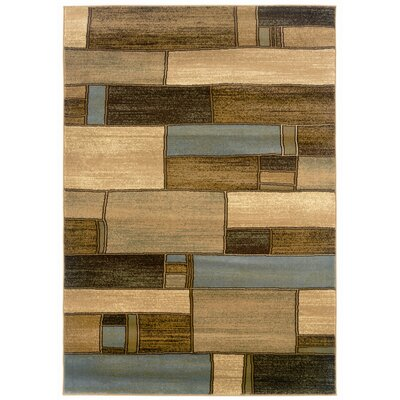 LR Resources Adana Blue/Berber Oblong Blocks Rug