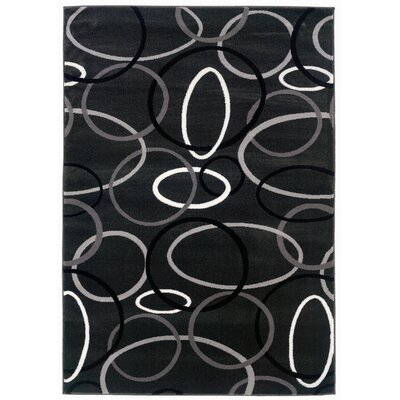 LR Resources Adana Rings Charcoal Rug