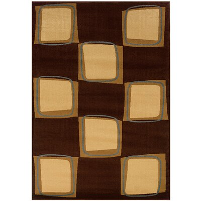 LR Resources Adana Brown/Cream Checkerboard Rug