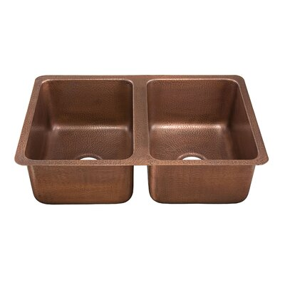 Thompson Traders Monterosso Hand Hammered Copper Double Bowl Kitchen Sink