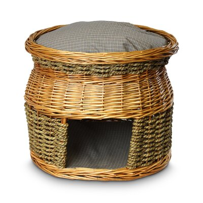 Wicker Double Decker Irish Cork Cat Basket and Bed