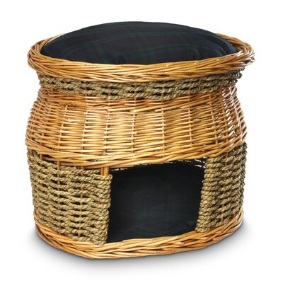 Wicker Double Decker Blackwatch Plaid Cat Basket and Bed