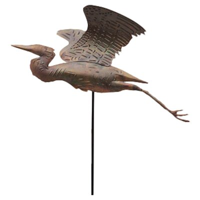 Ancient Graffiti Heron Flamed Garden Stake