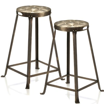 CG Sparks Metal Tufted Counter Stool in Natural (Set of 2)
