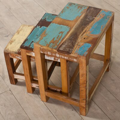CG Sparks Halebid Stripped 3 Piece Nesting Table