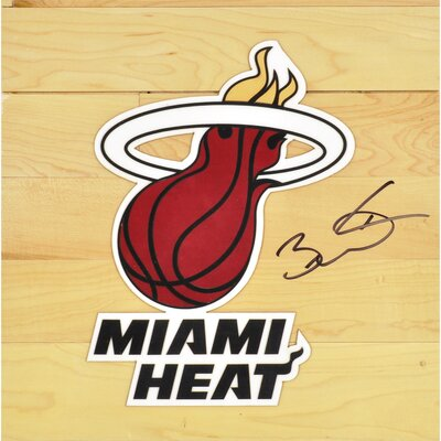 Dwyane Wade Miami Heat Autographed Floor Piece with Logo