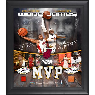 Mounted Memories LeBron James and Dwyane Wade MVP Miami Heat Framed Collage with Game-Used Ball and Jersey