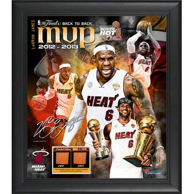 LeBron James Miami Heat NBA Finals MVP Framed Multi-Photo Collage with Game-Used Basketball Piece