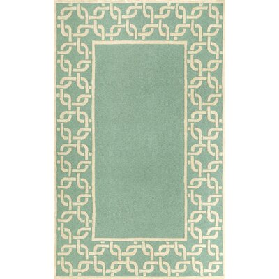 Liora Manne Spello Chain Border Aqua Outdoor Rug