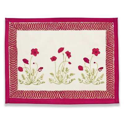 Couleur Nature Poppies Red Green Placemat (Set of 6)