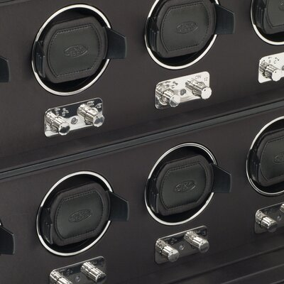 Wolf Designs Heritage Module 2.1 Eight Piece Watch Winder with Cover in Black