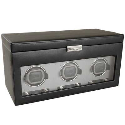 Wolf Designs Viceroy Module 2.7 Triple Watch Winder with Cover and Storage in Black