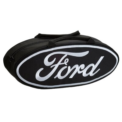 "Go Boxes LLC 25"" Oval Shaped Canvas Bag in Black with White Lettering"