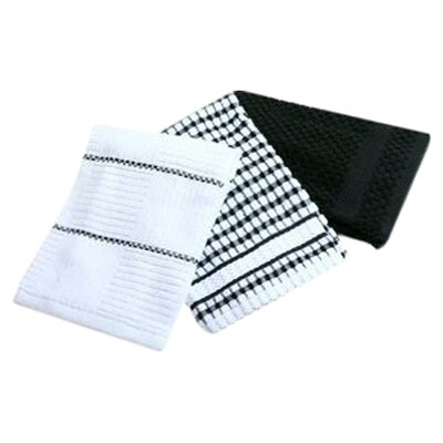 Bardwil Popcorn Kitchen Towel in Black (Set of 3)