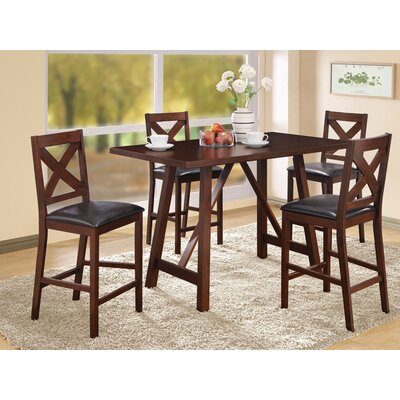 Monarch Specialties Inc. 5 Piece Dining Set Counter Height Dining Set