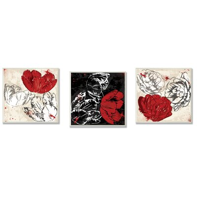 Home Décor Floral Trio Wall Plaque in White, Red and Black