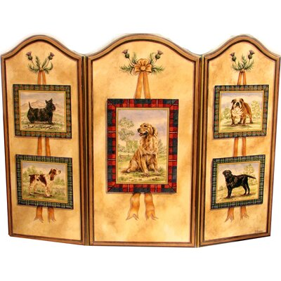 Five Dog 3 Panel MDF Fireplace Screen