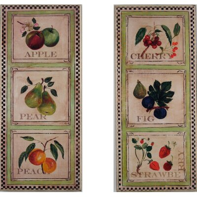 Stupell Industries Assorted Fruits in Squares Oversized Kitchen Wall Plaque Set