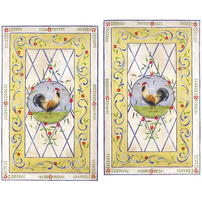 Yellow Border and Roosters Oversized Kitchen Wall Plaque Set