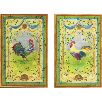 Rainbow Roosters Oversized Kitchen Wall Plaque Set