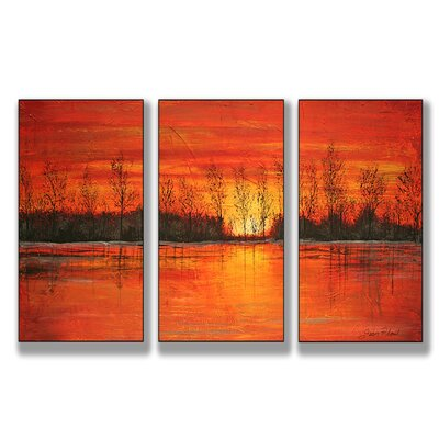 Stupell Industries Autumn Sunset Triptych Wall Art