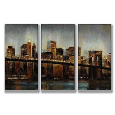 Home Décor Lights on Bridge Triptych 3 Piece Painting Print Set