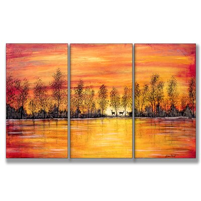 Deer at Sunset Triptych Wall Art
