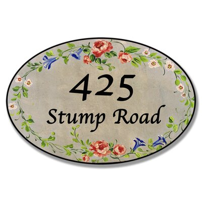 Personalized House Oval Floral Wall Plaque