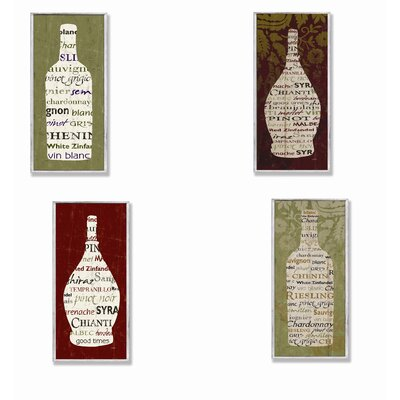 Home Décor Typography Wine Bottle Wall Plaques (Set of 4)
