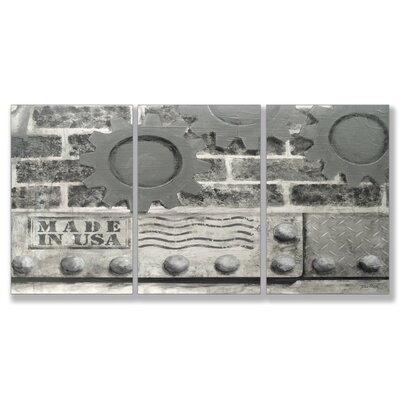 Stupell Industries Home Décor Industrial USA Triptych Art