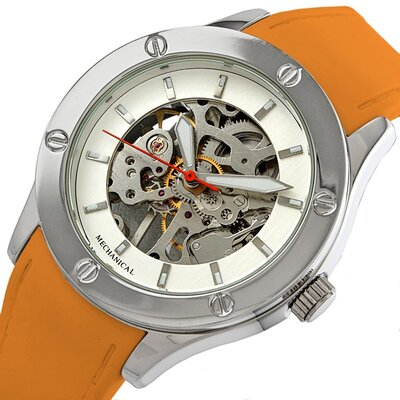 Breda Women's Addison Mechanical See-Through Watch in Orange