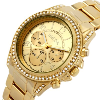 Breda Women's Ultra Femme Ultra Femme Rhinestone Accented Gold Runway Watch