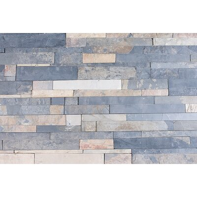"Cabot Quartzite 6"" x 24"" Natural Ledge Stone in Sierra Blue"