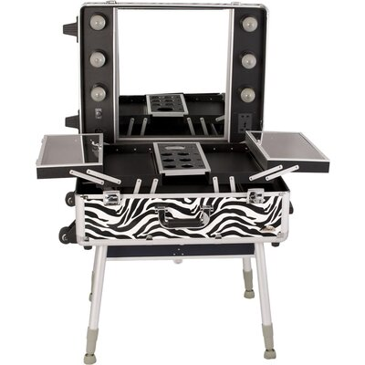 Sunrise Cases Zebra Pattern Professional Rolling Studio Makeup Train Case