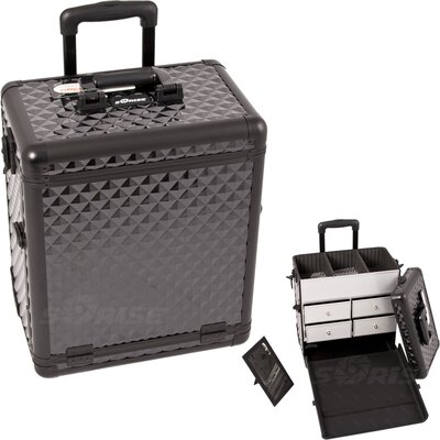 Sunrise Cases Diamond Pattern Interchangeable Professional Rolling Makeup Train Case