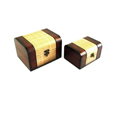 Decorative Keepsake Jewelry Box in Distressed Mahogany and Yellow (Set of 2)