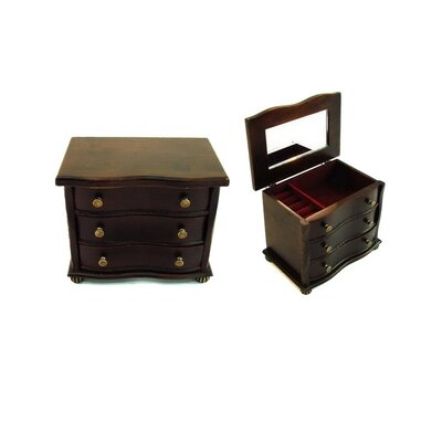 Antique Jewelry Box with Bun Feet in Distressed Antique Ebony