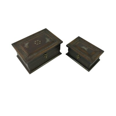 Classic Keepsake Jewelry Box with Butterflies Design in Distressed Brown (Set of 2)