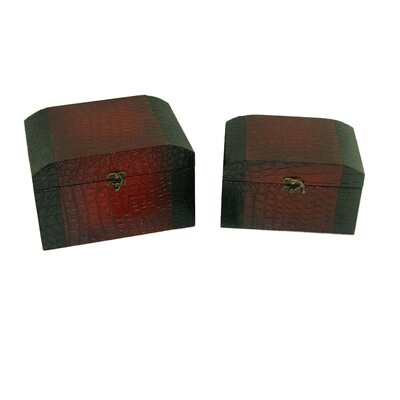 Leather Jewelry Box with Crocodile Design in Distressed Red (Set of 2)