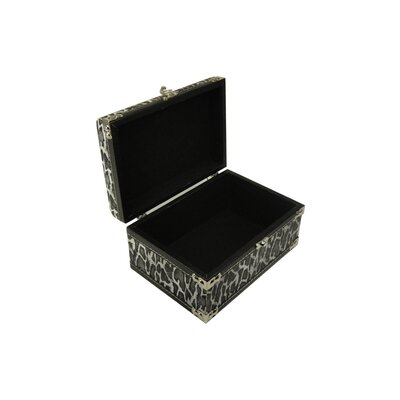 Keystone Intertrade Inc. Leather Jewelry Box with Leopard Design in Distressed Black and White (Set of 2)