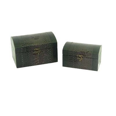Leather Jewelry Box with Snake Design in Distressed Purple (Set of 2)