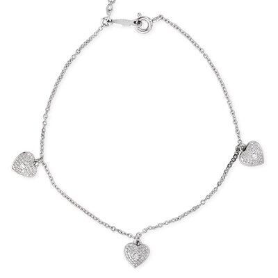 CZ Collections Sterling Silver Hanging Heart Charm Bracelet / Ankle