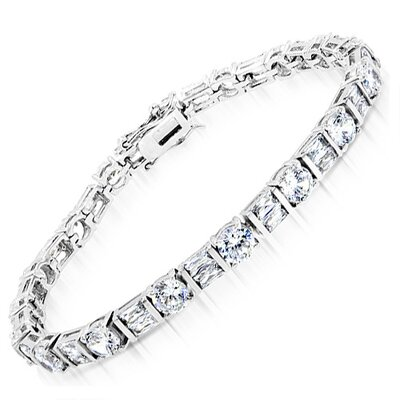 "CZ Collections Classic 0.18"" Diamond Sterling Silver Tennis Bracelet"