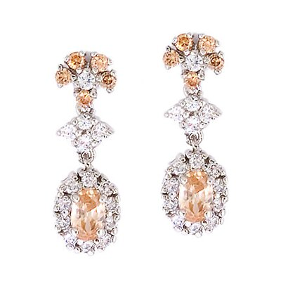 Rozzato Round Oval Gemstone Diamond Drop Earrings