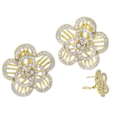 CZ Collections Flower Shape Two Tone Set with Glittering (.925) Sterling Silver Earrings