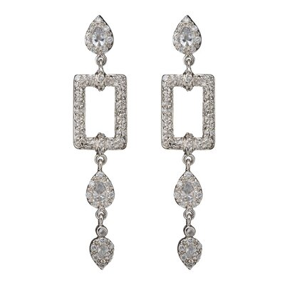 CZ Collections Square Outline with Hanging Drops Rhodium Earrings