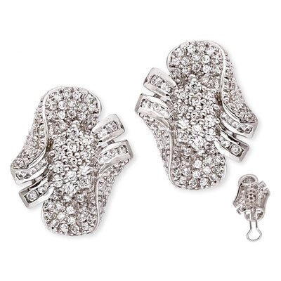 CZ Collections Pavé-Set Diamond Sterling Silver Cluster Earrings