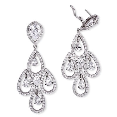 Teardrop Diamond Sterling Silver Chandelier Earrings