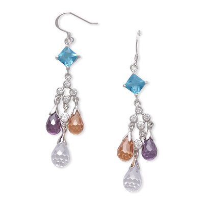 CZ Collections Hanging Briolette Multicolor Earrings